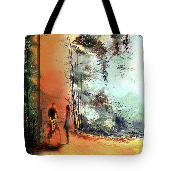 Tote Bag featuring the painting Meeting On A Date by Anil Nene
