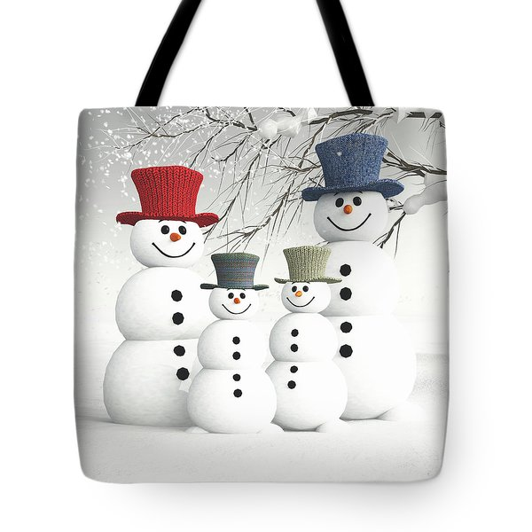 Meeting The Snowmen Family Tote Bag