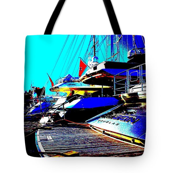 Tote Bag featuring the photograph Mega Yachts by Rogerio Mariani