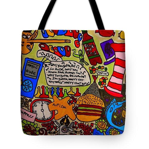 Megaland Rude Tote Bag by Artists With Autism Inc
