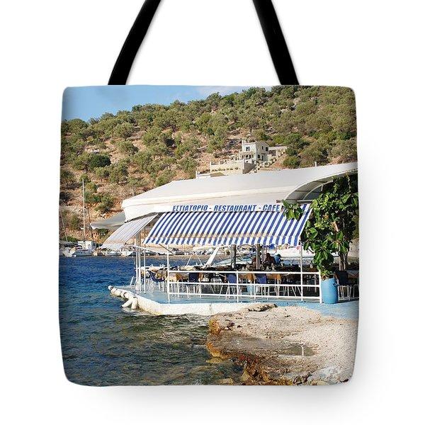 Meganissi Beach Taverna Tote Bag