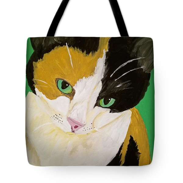 Tote Bag featuring the painting Megans_kitty_dwp_2016 by Ania M Milo