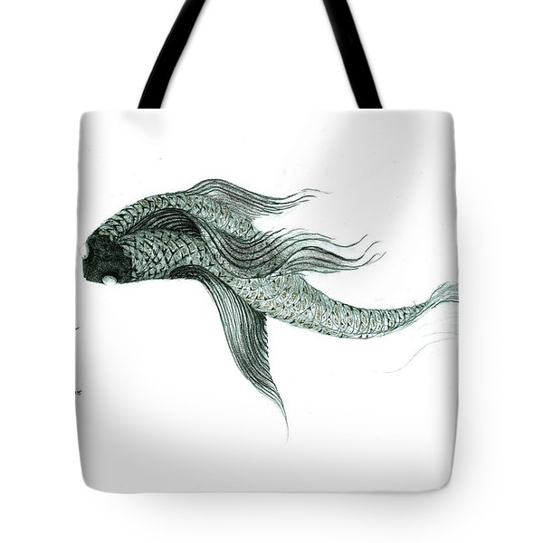 Tote Bag featuring the drawing Megic Fish 1 by James Lanigan Thompson MFA
