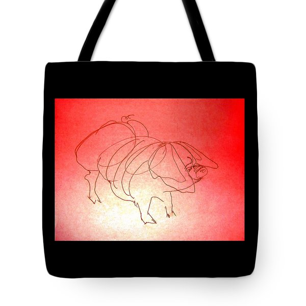 Tote Bag featuring the drawing Meishan Sow 3 by Larry Campbell
