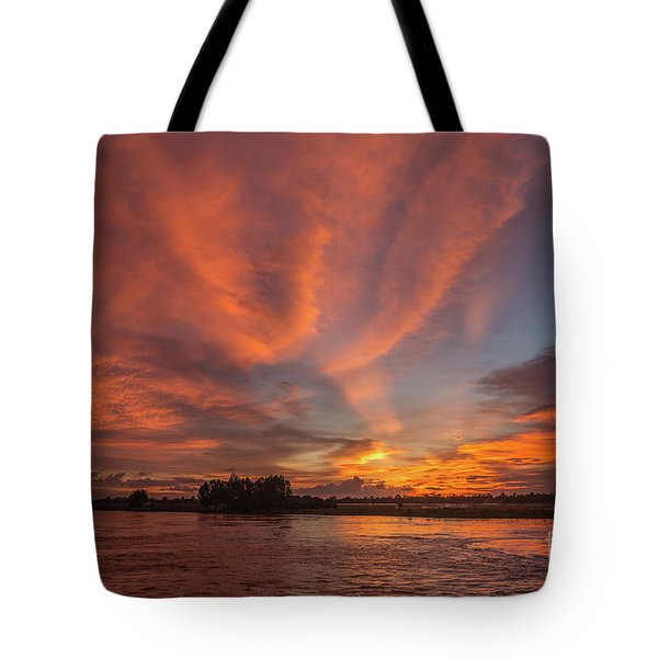 Tote Bag featuring the photograph Mekong Sunset 3 by Werner Padarin