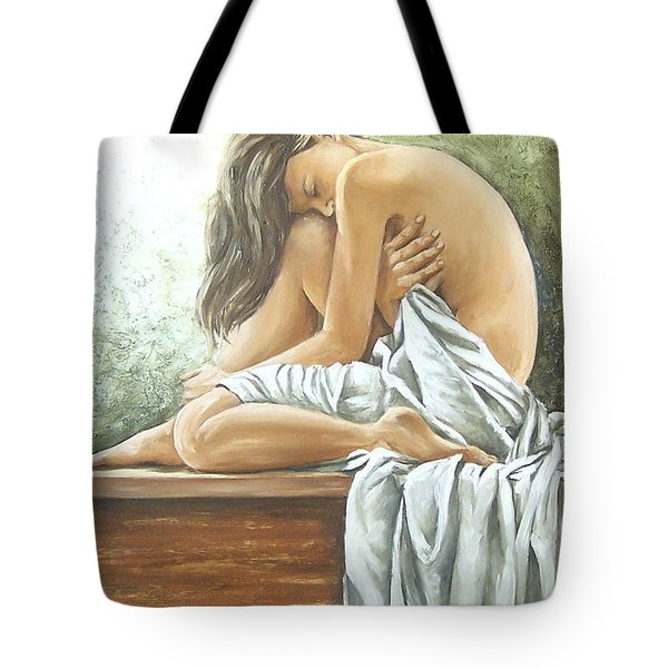 Tote Bag featuring the painting Melancholy by Natalia Tejera