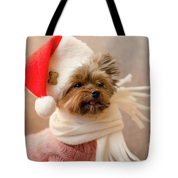 Tote Bag featuring the photograph Melanie In Christmas Hat by Irina ArchAngelSkaya
