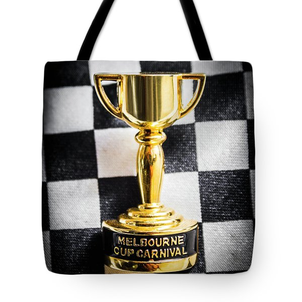 Melbourne Cup Pin On Mens Chequered Fashion Tie Tote Bag