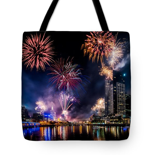 Tote Bag featuring the photograph Melbourne Fireworks by Ray Warren