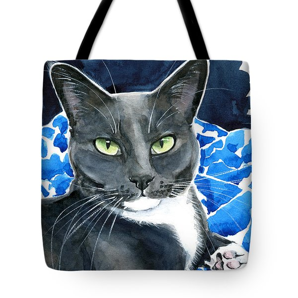 Melo - Blue Tuxedo Cat Painting Tote Bag