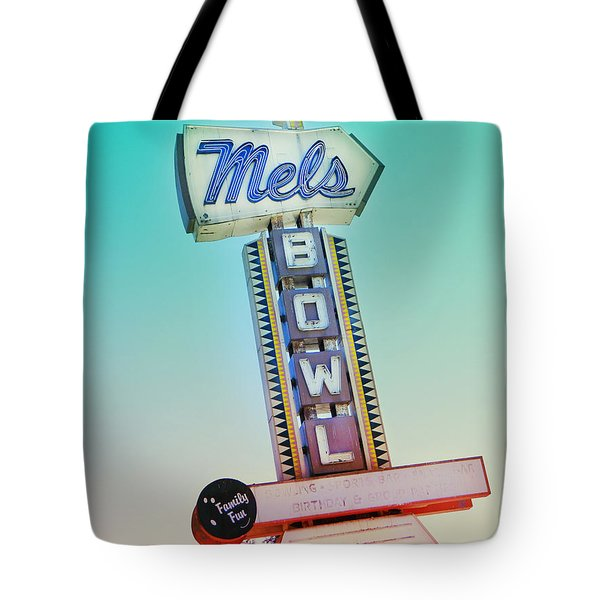 Mels Bowl Retro Sign Tote Bag by Kathleen Grace