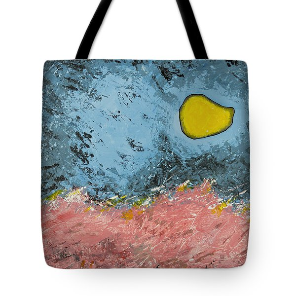 Tote Bag featuring the painting Melting Moon Over Drifting Sand Dunes by Ben Gertsberg