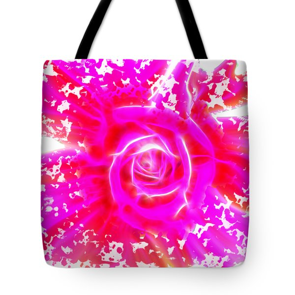 Melting Pink Rose Fractalius Tote Bag