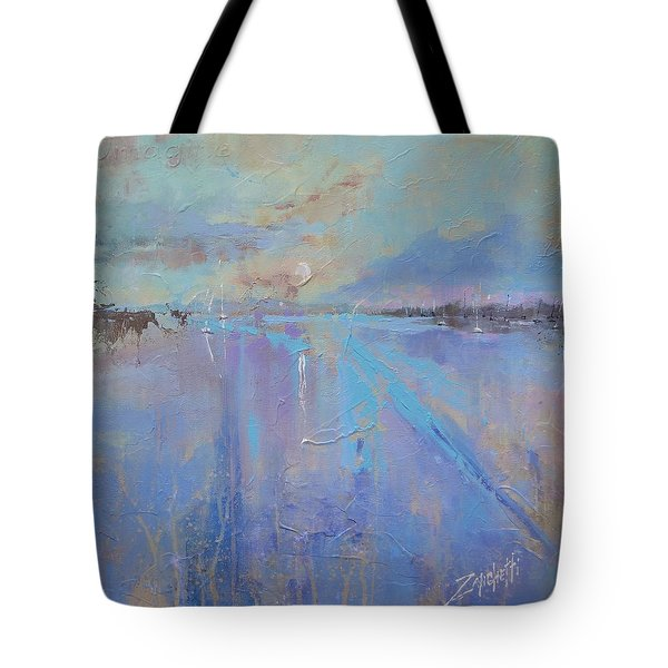 Tote Bag featuring the painting Melting Reflections by Laura Lee Zanghetti