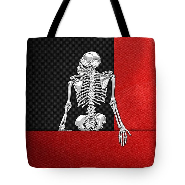 Memento Mori - Skeleton On Red And Black  Tote Bag
