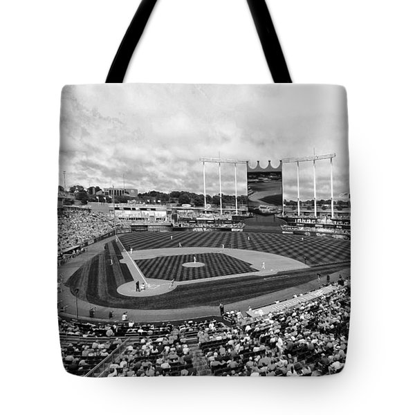 Memorial Day At Kauffman Stadium Bw Tote Bag