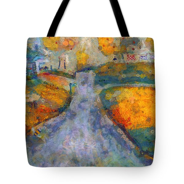 Tote Bag featuring the painting Memories Of Home In Autumn by Claire Bull