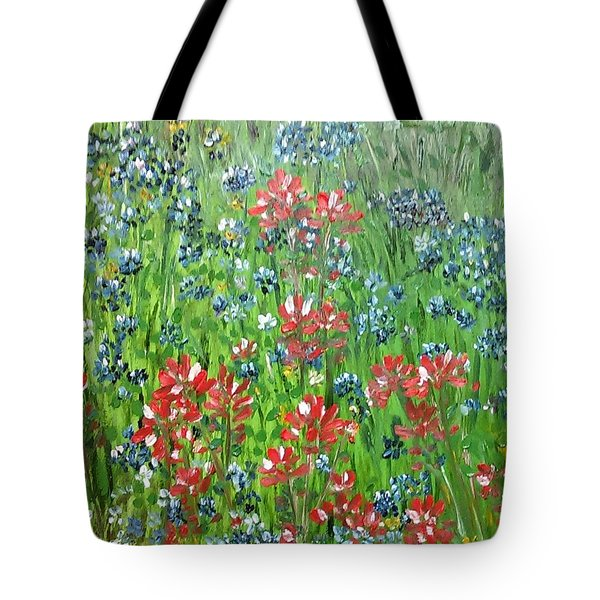 Memories Of Texas Everythings Better With Blue Bonnets On It Tote Bag by Debbie