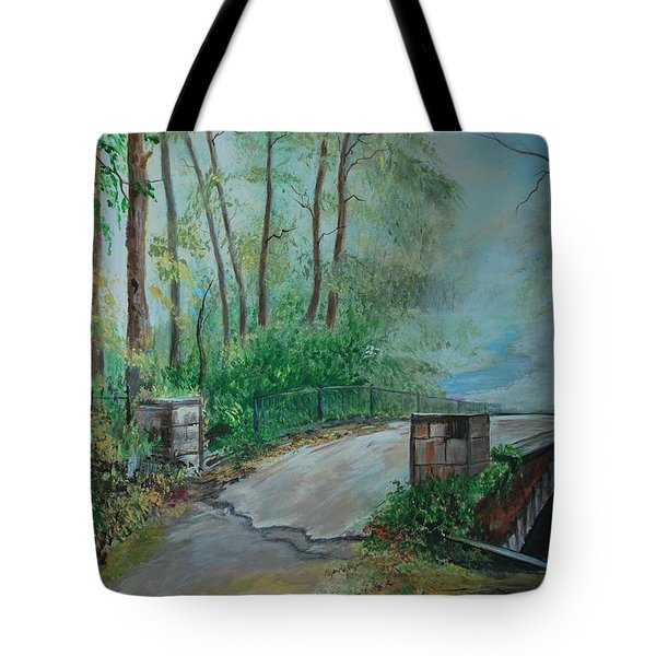Tote Bag featuring the painting Memory Bridge by Leslie Allen