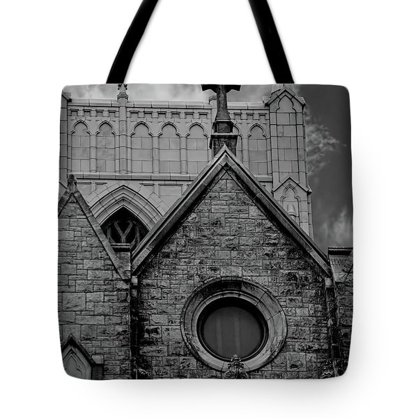 Memphis Cross In The Clouds Bw Tote Bag