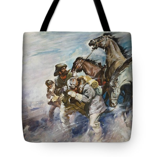 Men And Horses Battling A Storm Tote Bag by James Edwin McConnell