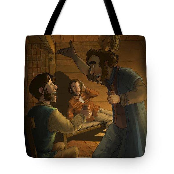 Men In A Hut Tote Bag