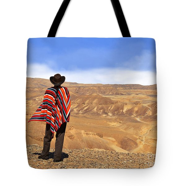 Man In A Poncho In The Desert Tote Bag