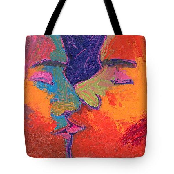 Men Kissing Colorful 2 Tote Bag by Shungaboy X
