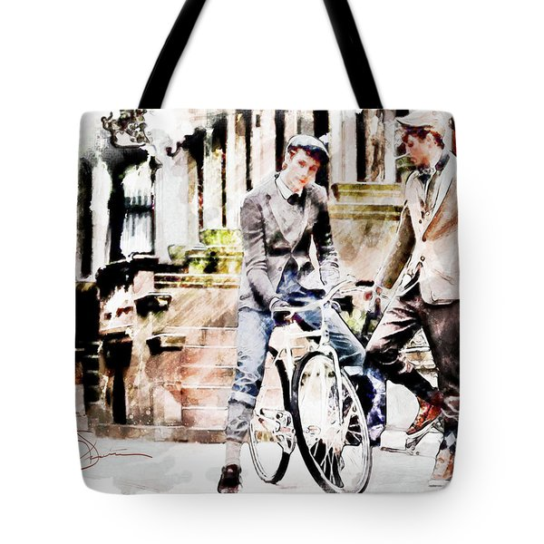 Men On Bikes Tote Bag