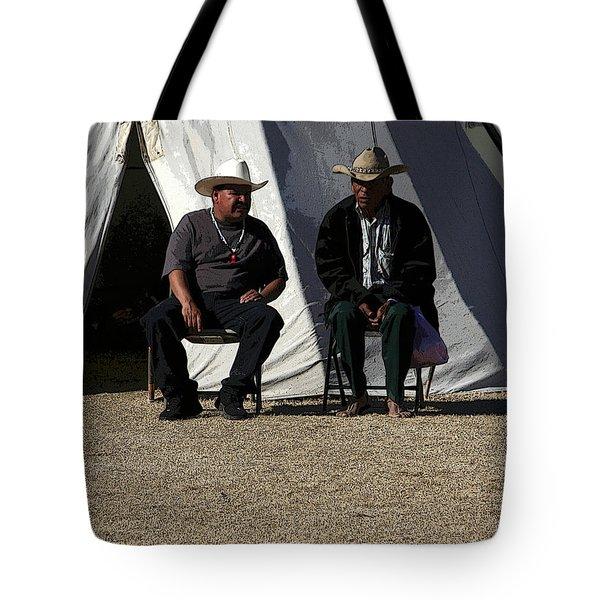 Men Talking Tote Bag by Joe Kozlowski