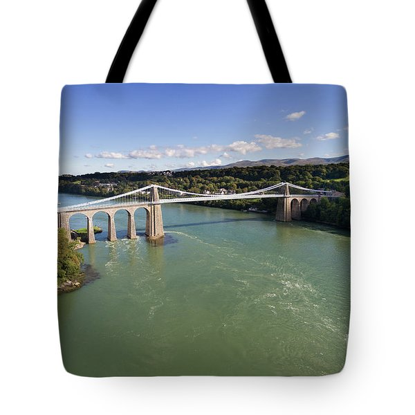 Menai Bridge 1 Tote Bag by Steev Stamford