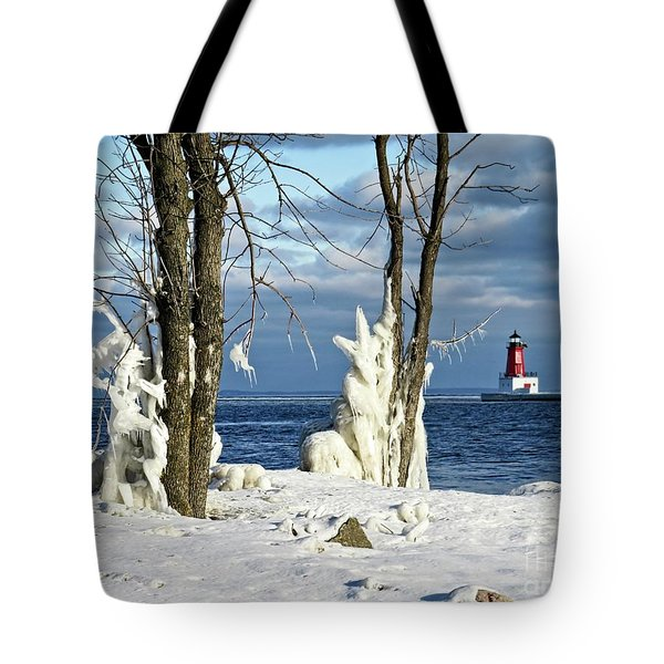 Menominee Lighthouse Ice Sculptures Tote Bag