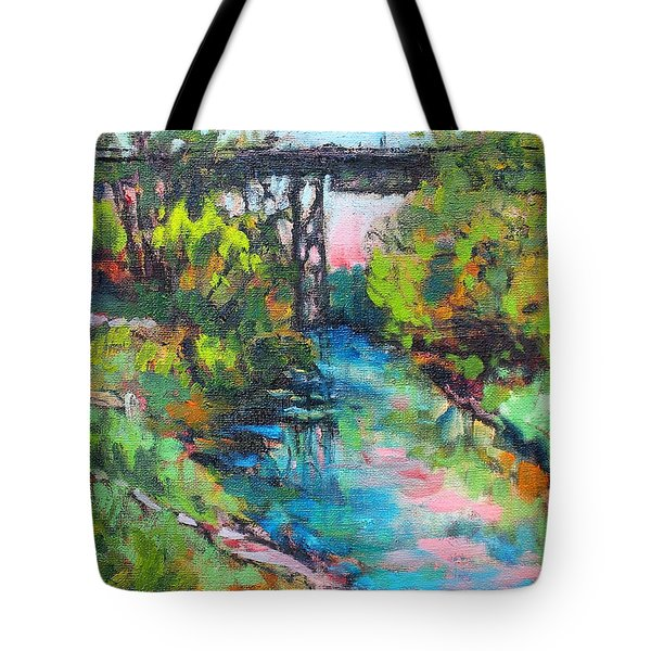 Tote Bag featuring the painting Menominee Viaduct by Les Leffingwell