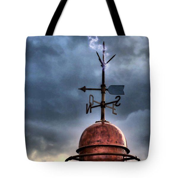 Menorca Copper Lighthouse Dome With Lightning Rod Under A Bluish And Stormy Sky And Lightning Effect Tote Bag by Pedro Cardona
