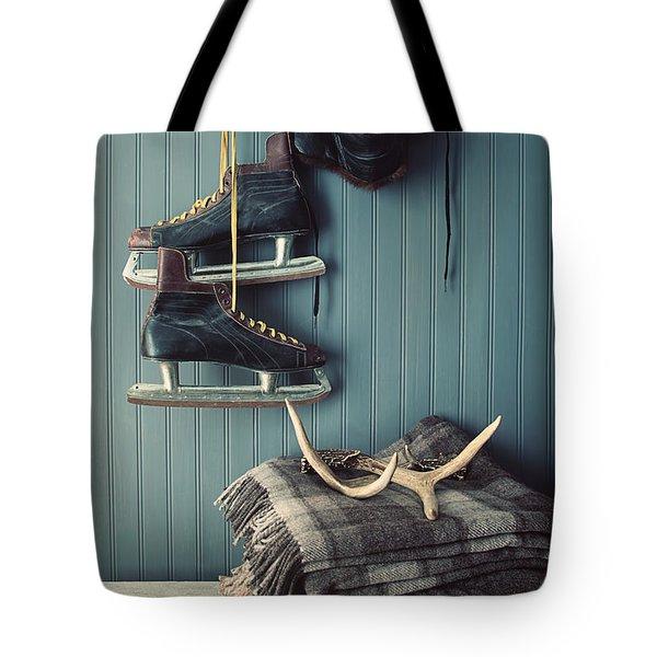 Men's Vintage Skates  Hanging On Hooks Tote Bag