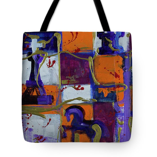 Tote Bag featuring the painting Mental Games - War Games by Walter Fahmy