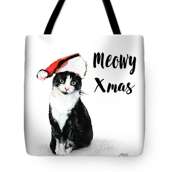 Tote Bag featuring the painting Meowy Xmas by Colleen Taylor