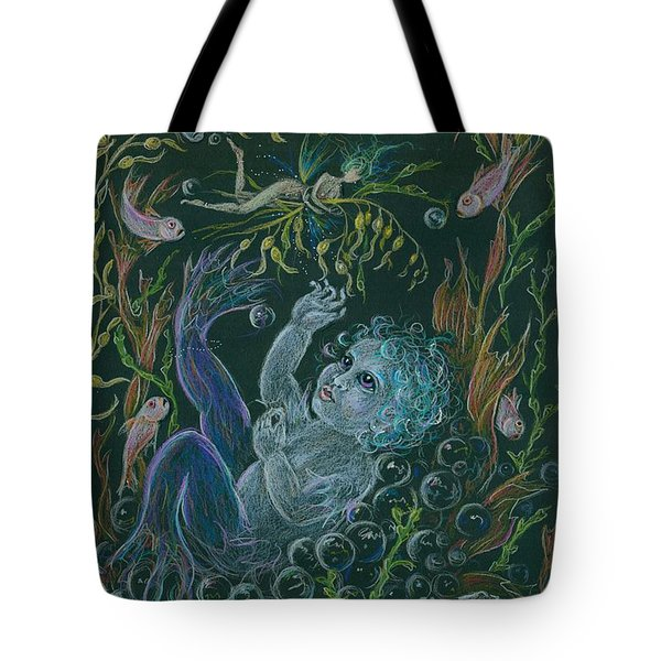 Tote Bag featuring the drawing Merbaby Blue by Dawn Fairies