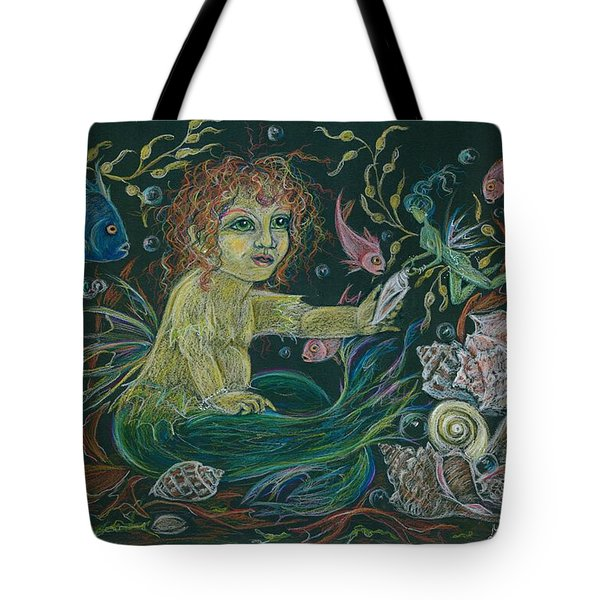Tote Bag featuring the drawing Merbaby Golden Green by Dawn Fairies