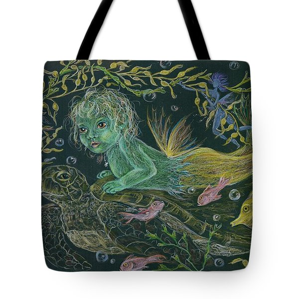 Tote Bag featuring the drawing Merbaby Green by Dawn Fairies