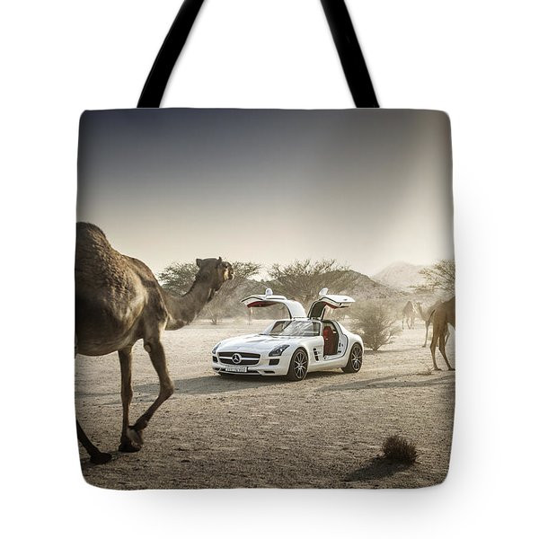 Mercedes Benz Sls With Camels In Saudi Tote Bag