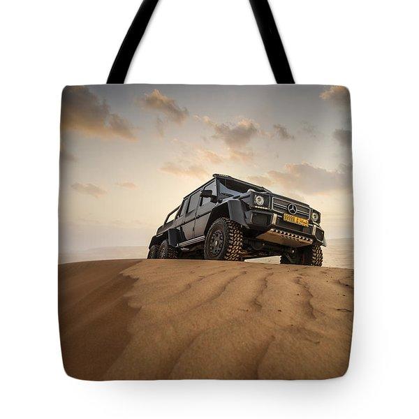 Mercedes G63 6x6 In Oman Desert Tote Bag