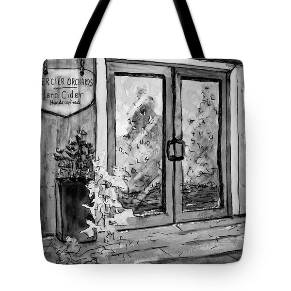 Mercier Orchard's Cider In Bw Tote Bag by Gretchen Allen