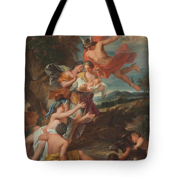 Mercury Entrusting The Infant Bacchus To The Nymphs Of Nysa Tote Bag