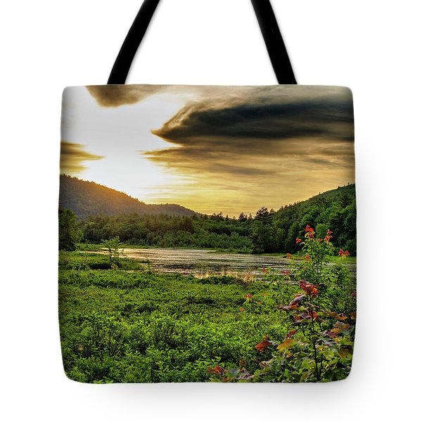 Tote Bag featuring the photograph Meredith Pond Sunset by Betty Pauwels