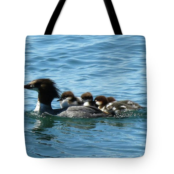 Merganser And Her Chicks Tote Bag