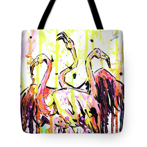 Tote Bag featuring the painting Merging. Flamingos by Zaira Dzhaubaeva