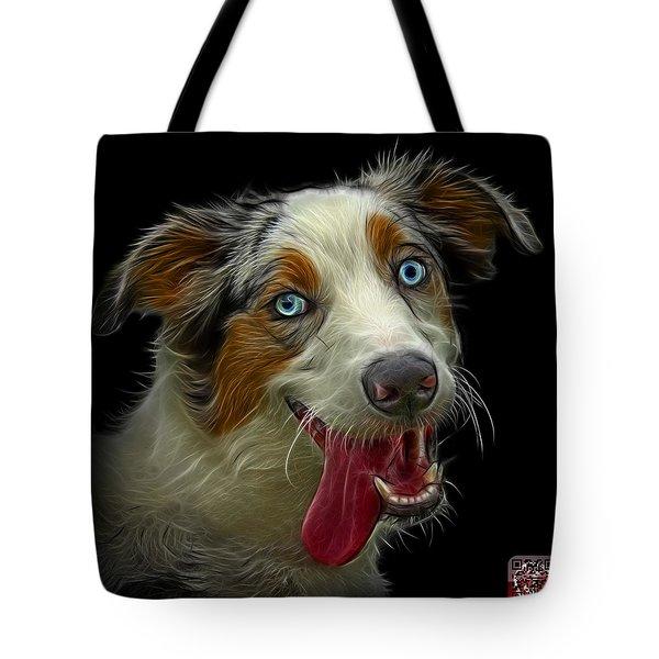 Tote Bag featuring the painting Merle Australian Shepherd - 2136 - Bb by James Ahn