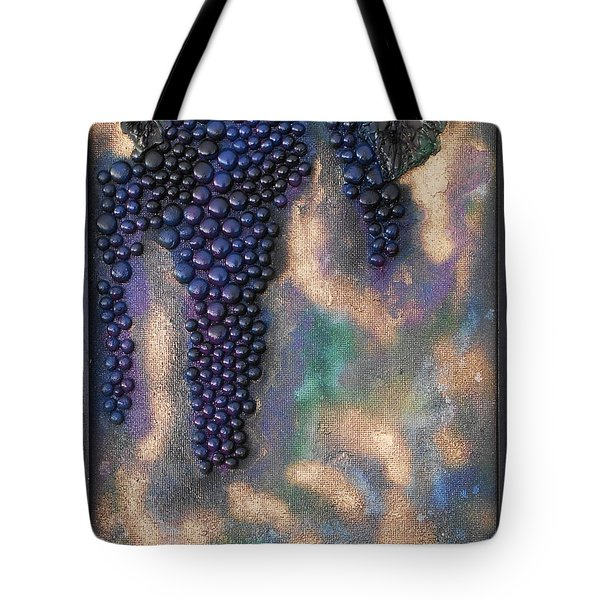 Tote Bag featuring the mixed media Merlot Grapes by Angela Stout