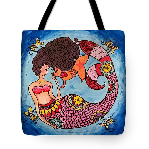 Mermaid And Catfish Tote Bag